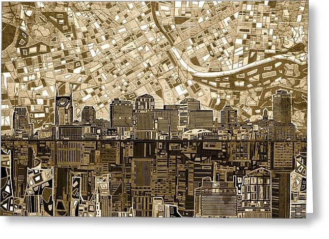 Nashville Greeting Cards - Nashville Skyline Abstract 6 Greeting Card by MB Art factory