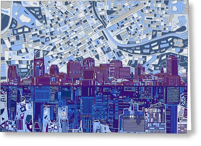 Nashville Tennessee Digital Art Greeting Cards - Nashville Skyline Abstract 8 Greeting Card by MB Art factory