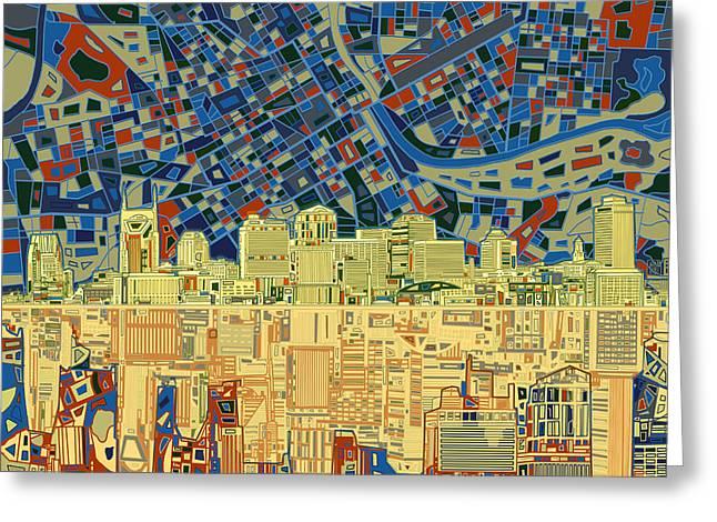 Nashville Tennessee Digital Art Greeting Cards - Nashville Skyline Abstract 9 Greeting Card by MB Art factory