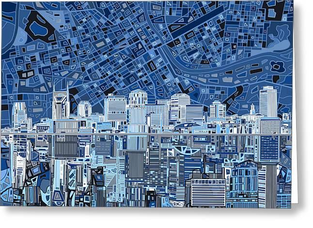Nashville Skyline Abstract Greeting Card by Bekim Art