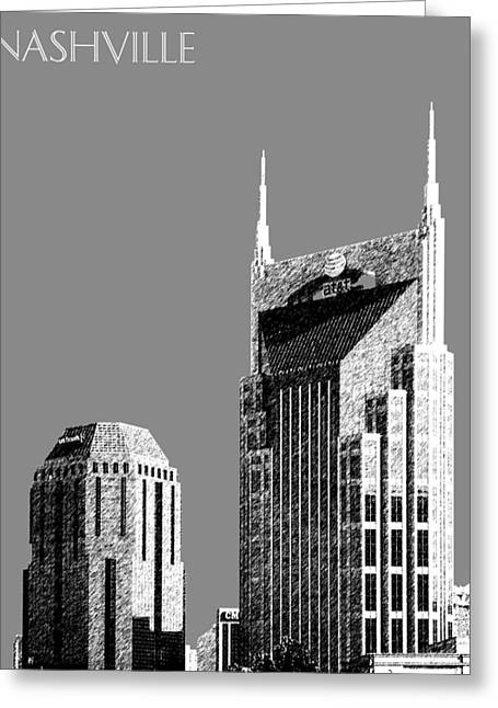 Pencil Greeting Cards - Nashville Skyline AT and T Batman Building - Pewter Greeting Card by DB Artist
