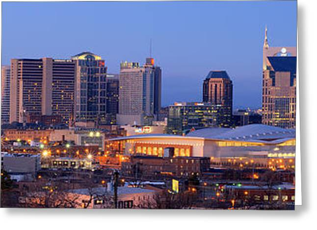 Nashville Downtown Greeting Cards - Nashville Skyline at Dusk Panorama Color Greeting Card by Jon Holiday