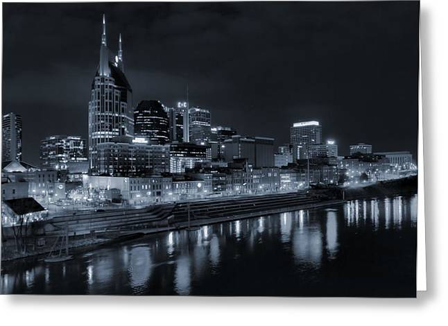 Tennessee River Greeting Cards - Nashville Skyline At Night Greeting Card by Dan Sproul
