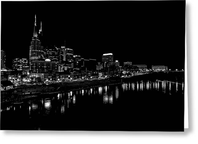 Reflections In River Greeting Cards - Nashville Skyline At Night In Black And White Greeting Card by Dan Sproul