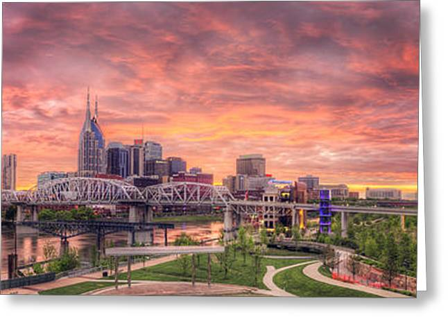 Nashville Tennessee Greeting Cards - Nashville Skyline at Sunset Greeting Card by Malcolm MacGregor