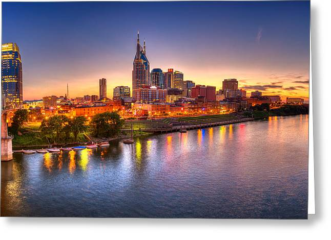Southern Scene Greeting Cards - Nashville Skyline Greeting Card by Brett Engle
