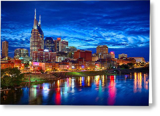 Neon Greeting Cards - Nashville Skyline Greeting Card by Dan Holland