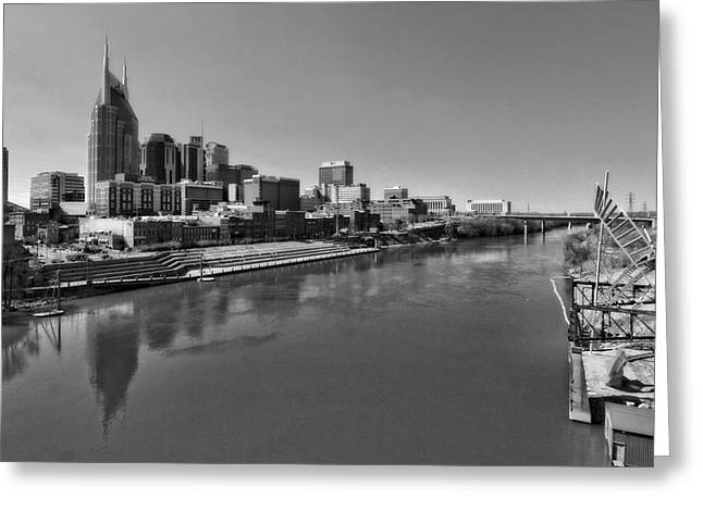 Reflections In River Greeting Cards - Nashville Skyline In Black And White At Day Greeting Card by Dan Sproul