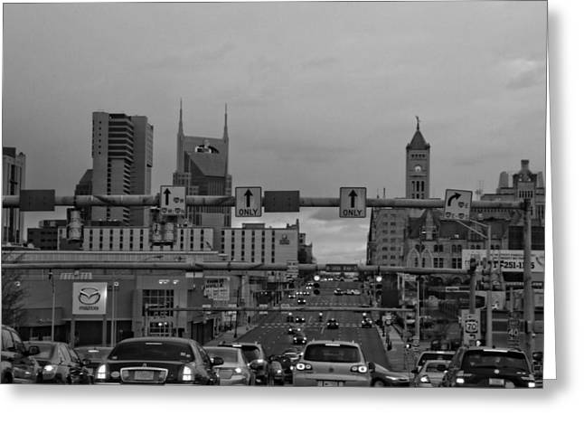 Nashville Downtown Greeting Cards - Nashville Skyline In Black And White Greeting Card by Dan Sproul