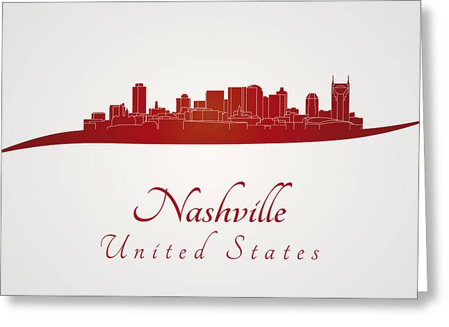 Tennessee Landmark Greeting Cards - Nashville skyline in red Greeting Card by Pablo Romero