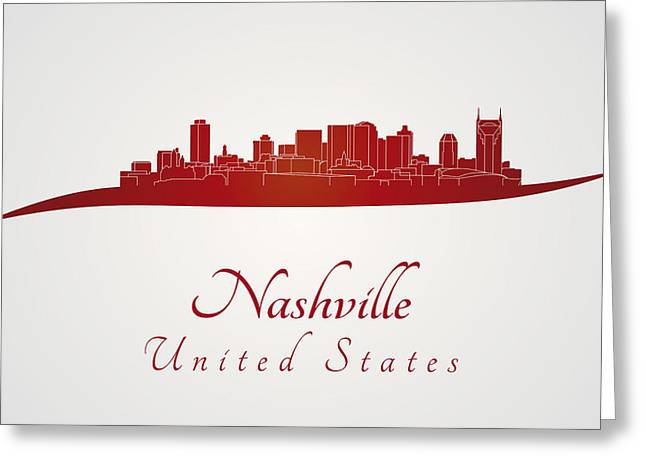 Tennessee Landmark Digital Greeting Cards - Nashville skyline in red Greeting Card by Pablo Romero