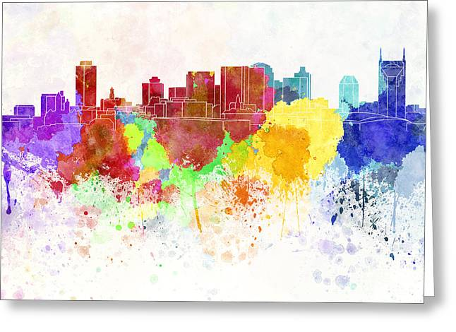 Tennessee Landmark Paintings Greeting Cards - Nashville skyline in watercolor background Greeting Card by Pablo Romero