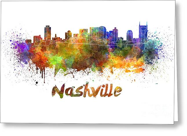 Nashville Greeting Cards - Nashville skyline in watercolor Greeting Card by Pablo Romero