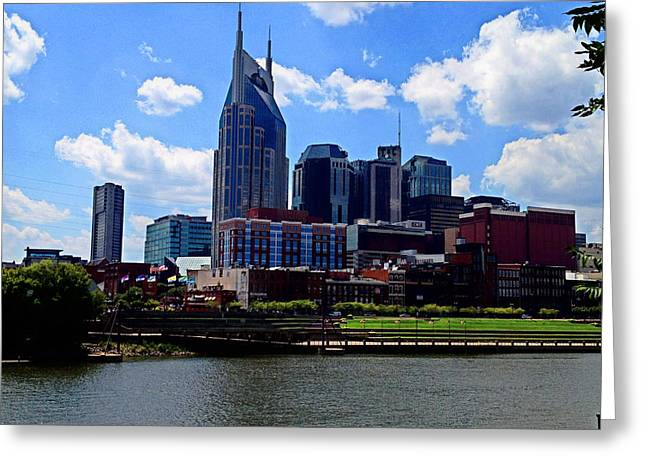 Tennessee River Greeting Cards - Nashville TN Skyline Greeting Card by Josephine