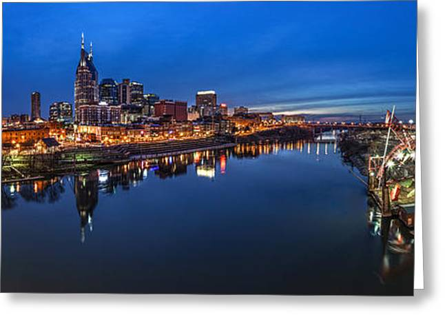 Southern Scene Greeting Cards - Nashville Skyline Panorama at Night Greeting Card by Brett Engle