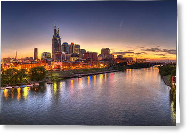 Blue Hour Greeting Cards - Nashville Skyline Panorama Greeting Card by Brett Engle
