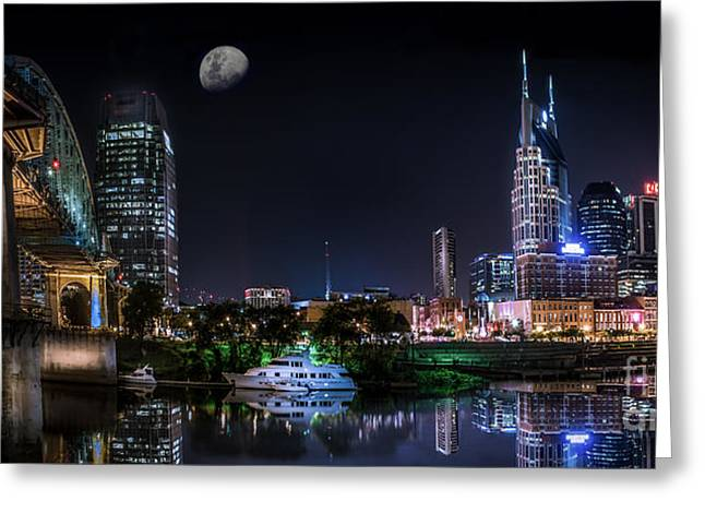 Nashville Tennessee Greeting Cards - Nashville Skyline Panoramic Greeting Card by Desmond Lake