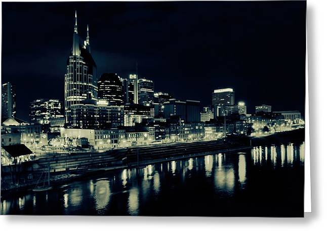 Tennessee River Greeting Cards - Nashville Skyline Reflected At Night Greeting Card by Dan Sproul