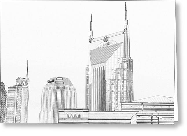 Nashville Downtown Greeting Cards - Nashville Skyline Sketch Batman Building Greeting Card by Dan Sproul