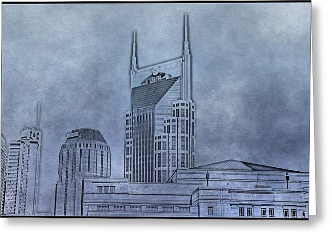 Nashville Downtown Greeting Cards - Nashville Skyline Sketch Greeting Card by Dan Sproul