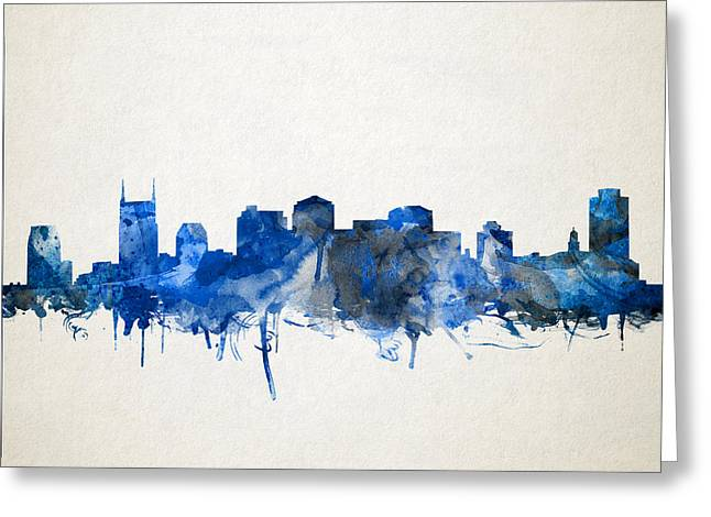 Nashville Greeting Cards - Nashville Skyline Watercolor 11 Greeting Card by MB Art factory