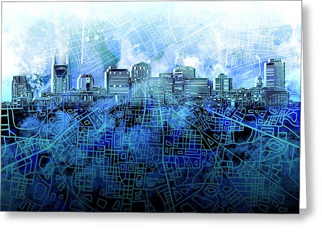 Nashville Greeting Cards - Nashville Skyline Watercolor 3 Greeting Card by MB Art factory