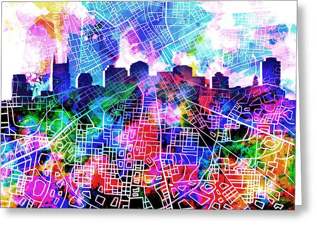 Abstract Digital Greeting Cards - Nashville Skyline Watercolor 5 Greeting Card by MB Art factory