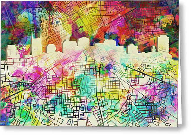 Nashville Greeting Cards - Nashville Skyline Watercolor 7 Greeting Card by MB Art factory