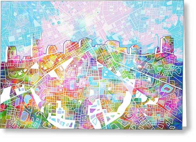 Nashville Greeting Cards - Nashville Skyline Watercolor 8 Greeting Card by MB Art factory