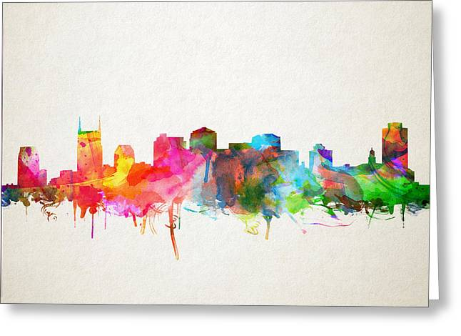 Nashville Greeting Cards - Nashville Skyline Watercolor 9 Greeting Card by MB Art factory