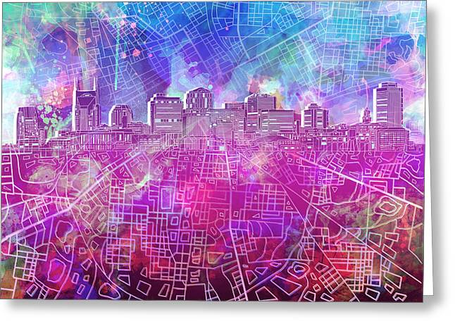 Nashville Greeting Cards - Nashville Skyline Watercolor Greeting Card by MB Art factory
