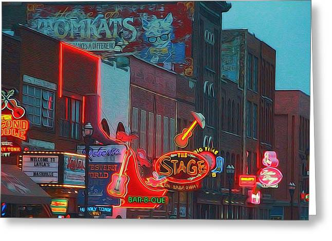Nashville Downtown Greeting Cards - Nashville Strip Lit Up Greeting Card by Dan Sproul