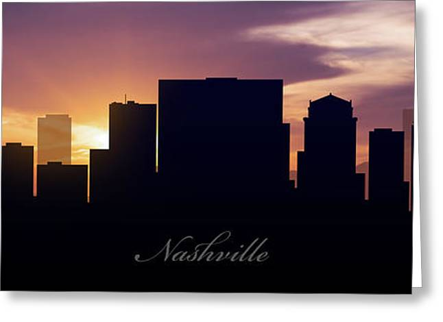 Nashville Panorama Greeting Cards - Nashville Sunset Greeting Card by Aged Pixel