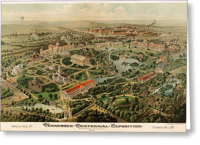 Tennessee Drawings Greeting Cards - Nashville Tennessee Centennial Exposition Map 1897 Greeting Card by Mountain Dreams