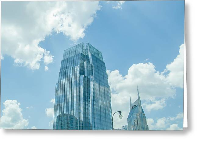 Tennessee Landmark Greeting Cards - Nashville Tennessee downtown skyline and streets Greeting Card by Alexandr Grichenko