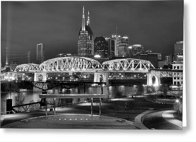 Nashville Panorama Greeting Cards - Nashville Tennessee Greeting Card by Frozen in Time Fine Art Photography