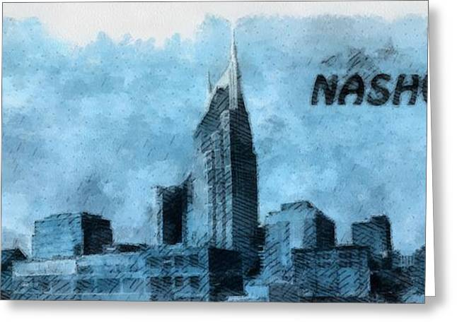 Nashville Downtown Greeting Cards - Nashville Tennessee In Blue Greeting Card by Dan Sproul