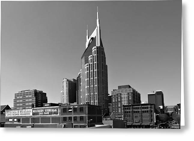 Country Music Town Greeting Cards - Nashville Tennessee Skyline Black And White Greeting Card by Dan Sproul
