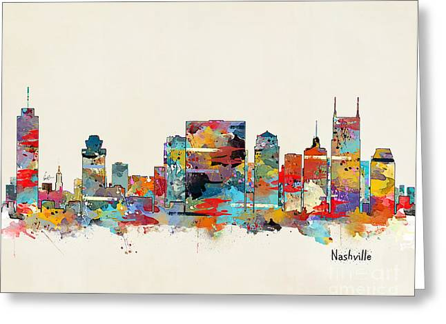 Nashville Tennessee Digital Greeting Cards - Nashville Tennessee Skyline Greeting Card by Bri Buckley