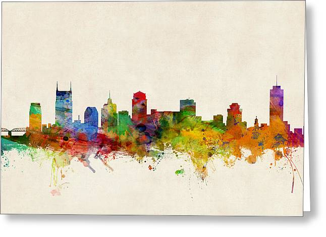 Urban Watercolour Greeting Cards - Nashville Tennessee Skyline Greeting Card by Michael Tompsett