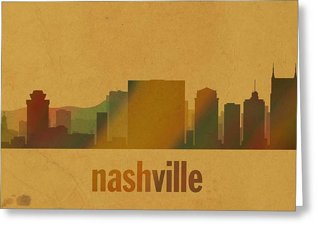 Nashville Tennessee Greeting Cards - Nashville Tennessee Skyline Watercolor On Parchment Greeting Card by Design Turnpike