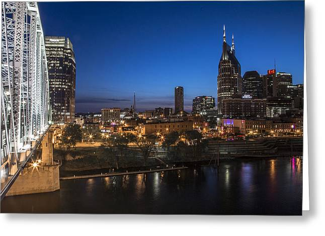 Nashville Tennessee Greeting Cards - Nashville Tennessee with Pedestrian Bridge  Greeting Card by John McGraw