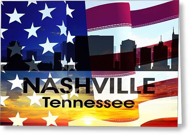Tn Mixed Media Greeting Cards - Nashville TN Patriotic Large Cityscape Greeting Card by Angelina Vick