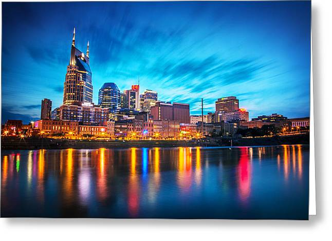 Nashville Tennessee Greeting Cards - Nashville Twilight Greeting Card by Lucas Foley