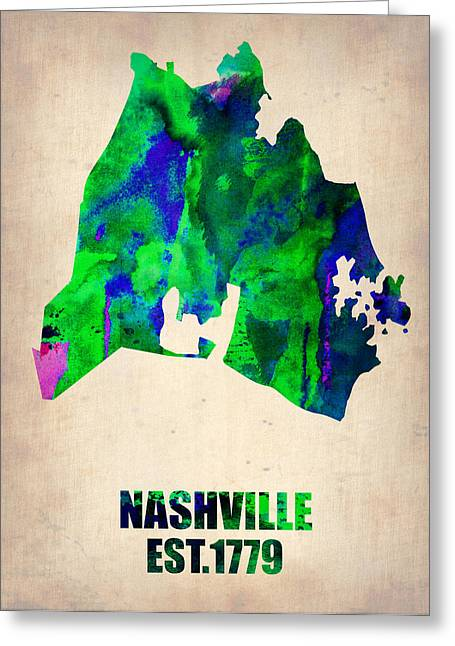 Nashville Tennessee Greeting Cards - Nashville Watercolor Map Greeting Card by Naxart Studio