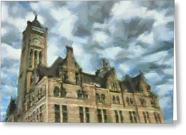 Historical Buildings Mixed Media Greeting Cards - Nashvilles Union Station Painted Greeting Card by Dan Sproul
