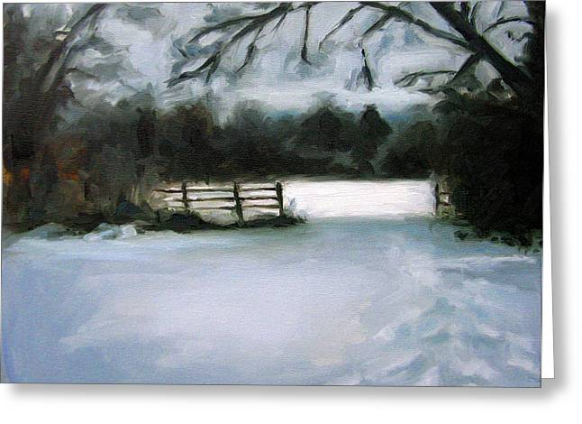 Nashville Tennessee Paintings Greeting Cards - Nashvilles Winter Morning Greeting Card by Erin Rickelton
