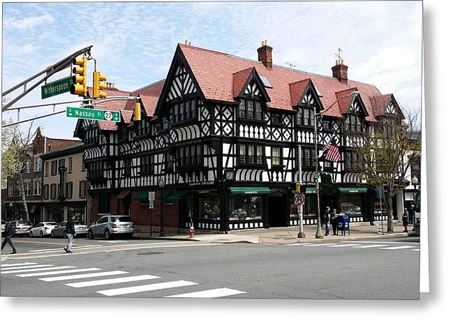 Ivy Corners Greeting Cards - Nassau and Witherspoon Streetcorner Greeting Card by Mark Victors