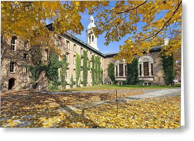 Building Exterior Photographs Greeting Cards - Nassau Hall with Fall Foliage Greeting Card by George Oze
