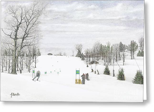 Spring Scenes Drawings Greeting Cards - NASTAR at Seven Springs Mountain Resort Greeting Card by Albert Puskaric